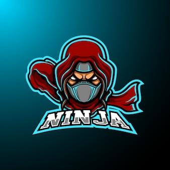 Logo della mascotte di ninja e sport