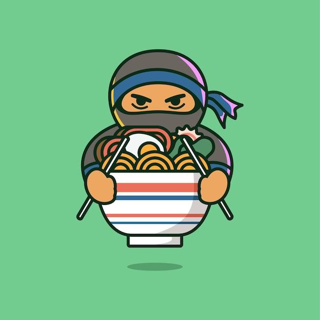 Ninja che mangia l'illustrazione di vettore del ramen in ramen piatto del fumetto nell'icona della ciotola