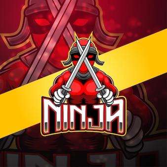 Ninja esport mascotte logo design