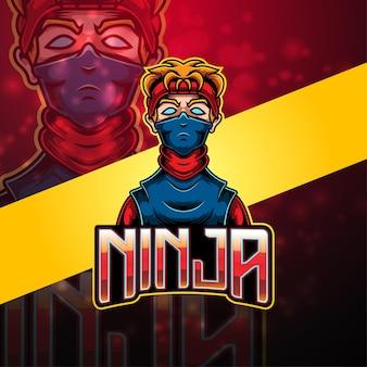 Disegno del logo della mascotte di ninja esport