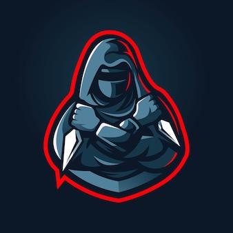 Disegno del logo mascotte ninja esport