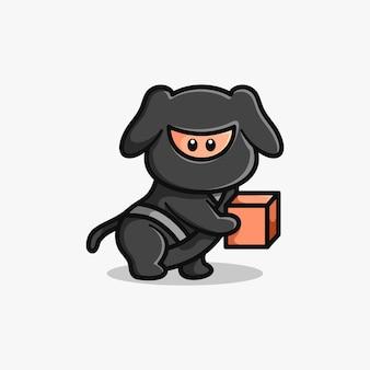 Ninja express mascotte logo design illustrazione vettoriale
