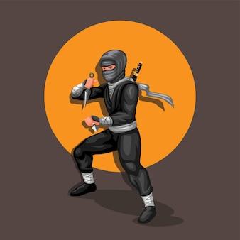 Posa di azione del personaggio di figura ninja che tiene kunai. illustrazione vettoriale di cultura giapponese ninja