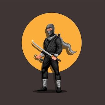 Personaggio di figura ninja in piedi con il tramonto sullo sfondo. vettore della mascotte della cultura giapponese ninja