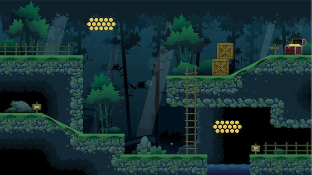 Gioco di piastrelle ninja forest platformer