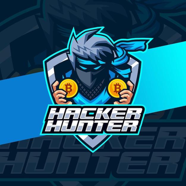 Design del logo della mascotte della criptovaluta di hacker ninja per l'e-sport e il logo della squadra