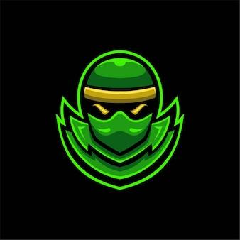 Illustrazione del modello di logo del fumetto testa ninja. logo esport gioco vettore premium