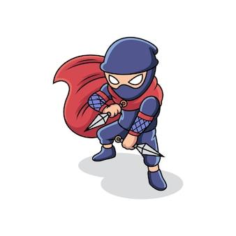 Ninja che tiene kunai in posa di combattimento. fumetto illustrazione vettoriale isolato su premium vector