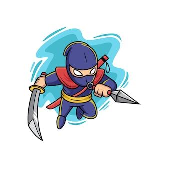 Ninja che tiene kunai e spada. fumetto illustrazione vettoriale isolato su premium vector