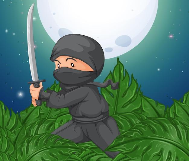 Ninja con la spada nella boscaglia