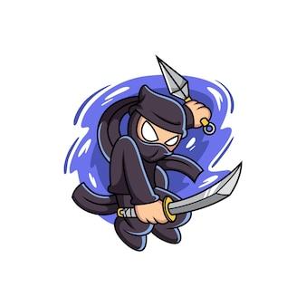 Ninja che tiene la spada con una posa carina. fumetto illustrazione vettoriale isolato su premium vector
