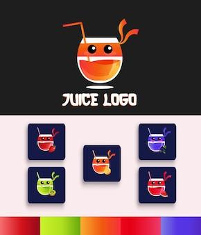 Modello icona logo bicchiere succo ninja impostato in gradiente