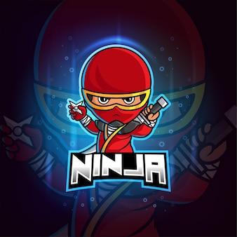 Mascotte ninja esport logo colorato