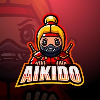 Illustrazione di logo esport mascotte ninja