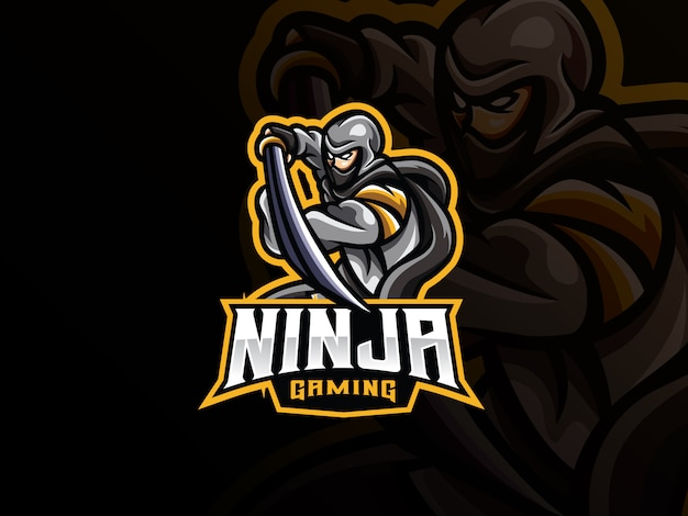 Ninja mascotte sport logo design