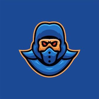 Illustrazione del modello di logo del fumetto della testa della maschera di ninja. logo esport gioco vettore premium