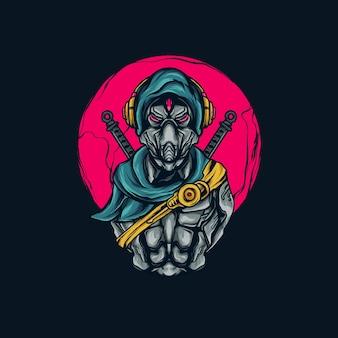Illustrazione di ninja mecha