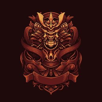 Ninja ornament vector art illustration