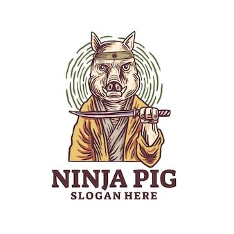 Modello di logo di maiale ninja