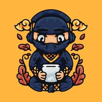Ninja che gioca smartphone