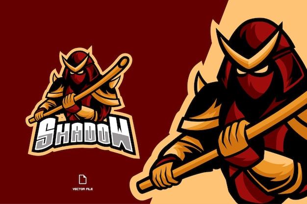 Logo del gioco mascotte ninja samurai per l'illustrazione della squadra di esport