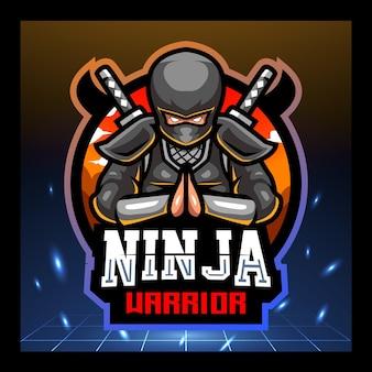 Disegno del logo esport della mascotte del guerriero ninja