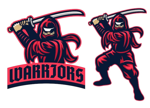 Mascotte del guerriero ninja nel set