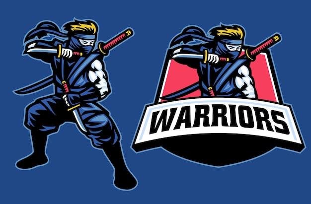 Posa di posizione della mascotte del guerriero ninja