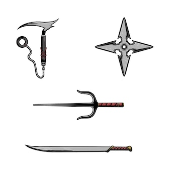 Illustrazione vettoriale di raccolta di armi ninja