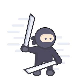 Ninja con spade katana in mano, stile piatto con contorno su bianco