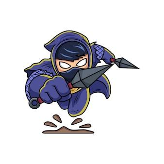 Ninja con cartone animato kunai. fumetto illustrazione vettoriale isolato su premium vector