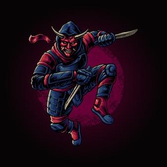 Il ninja con l'illustrazione della maschera