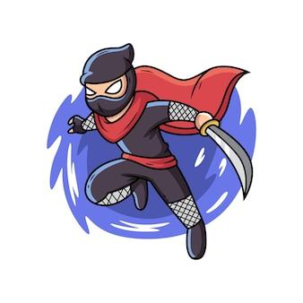 Ninja con il fumetto della spada fumetto illustrazione vettoriale isolato su premium vector