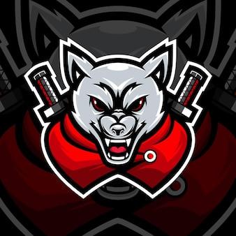 Mascotte del lupo ninja