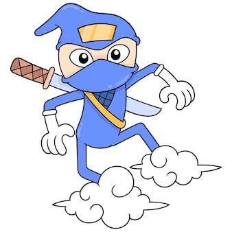 Ninja in azione facendo mosse di volo cavalcando le nuvole. scarabocchio icona kawaii.