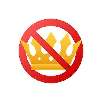 Nessuna corona. icona della corona proibita. nessun segno di vettore del re. principe proibito. illustrazione di riserva di vettore.