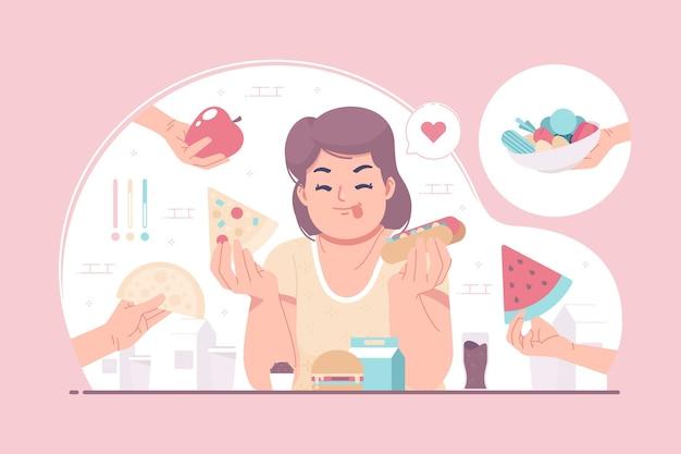 Nessun fondo dell'illustrazione di concetto di dieta