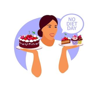Nessun giorno di dieta. una donna tiene in mano un piatto di cupcake.