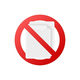 Nessun documento in stile piatto su sfondo rosso. disegno vettoriale. icona di affari. design piatto.