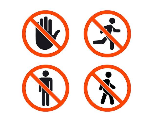 Nessun segno di ingresso. collezione di segnali di stop. l'uomo sta in piedi, cammina e corri. simbolo di persone. la mano si ferma e nessun uomo cammina. segnaletica di divieto ai pedoni. divieto di ingresso. il segno della fermata. la mano nel cerchio rosso