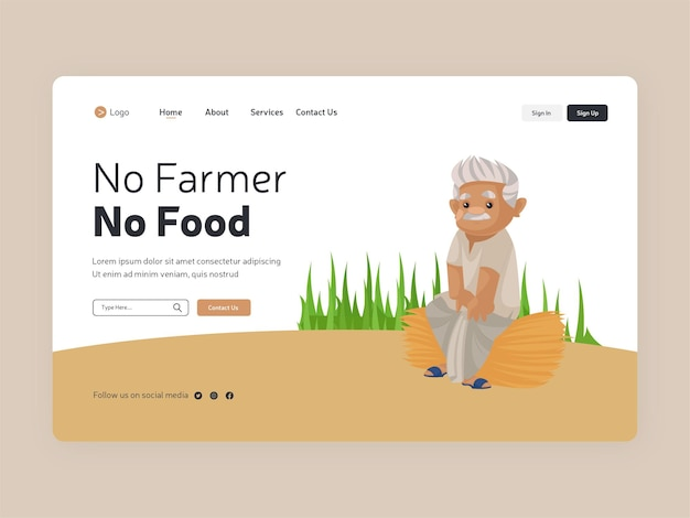 No farmer no food landing page template