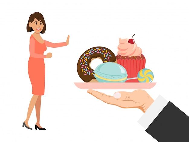 Nessun segno dello zucchero degli alimenti a rapida preparazione, insegna di propaganda, rifiuto della mano dagli alimenti industriali isolati sull'azzurro, illustrazione. attivista di alimenti sani.