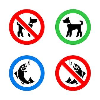 Segnali di divieto di pesca e divieto di insudiciamento del cane