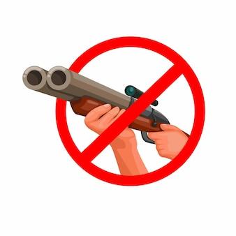 Nessuna caccia con fucile a mano con illustrazione di scoope