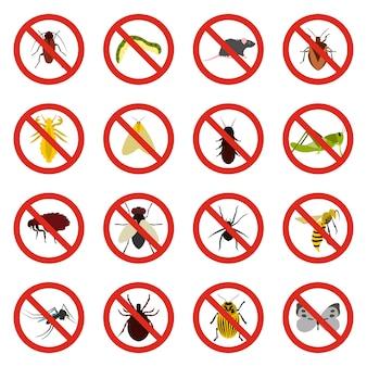 Nessun segno di insetto set di icone