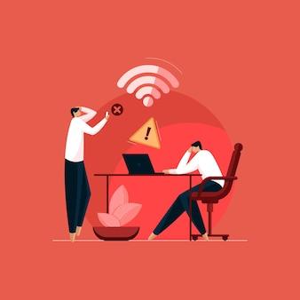 Nessun concetto di problema di connessione a internet o a internet la rete wi-fi non è disponibile