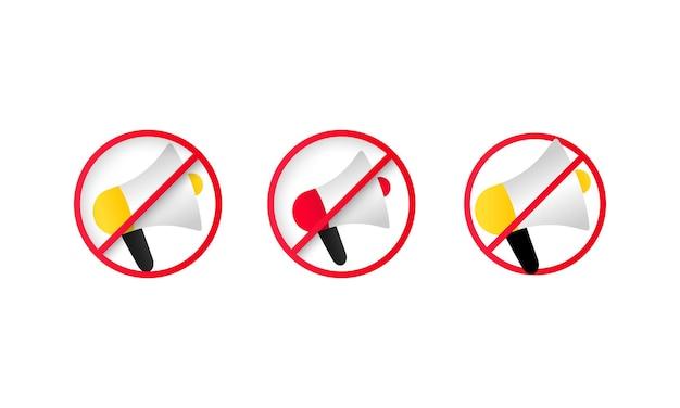 Nessun megafono o nessuna icona di divieto dell'altoparlante