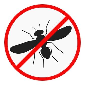 Nessuna icona di design piatto zanzara isolato su priorità bassa bianca.