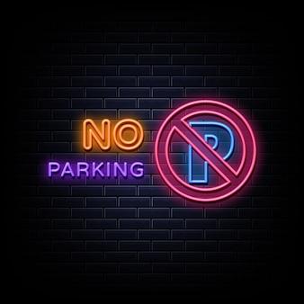 Nessun segno di parcheggio logo al neon
