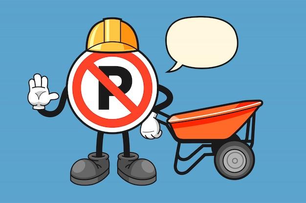 Nessun personaggio dei cartoni animati del segno di parcheggio con il gesto della mano di arresto